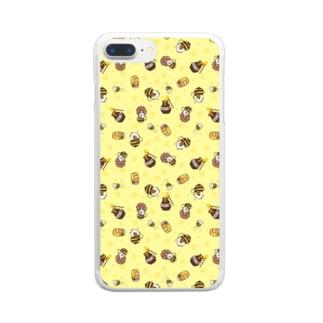ミツバチモルモット01 Clear smartphone cases
