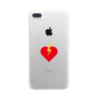 ハートに稲妻 Clear smartphone cases