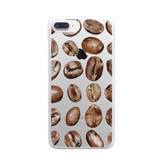 コーヒー豆24粒 縦長みっちり Clear smartphone cases