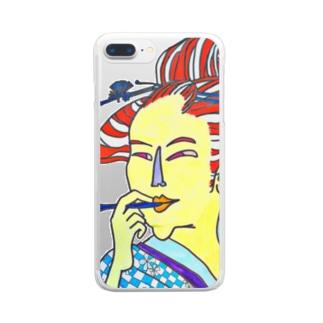 うっきょ ふじよ Clear smartphone cases