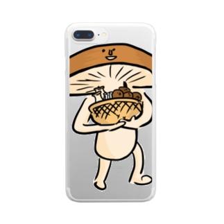 きのこ狩りへ行く椎茸さん Clear smartphone cases