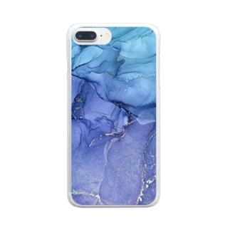 持ち歩けるアルコールインクアート Clear smartphone cases