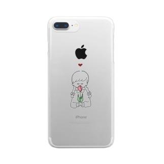 女の子 チューリップ Clear smartphone cases