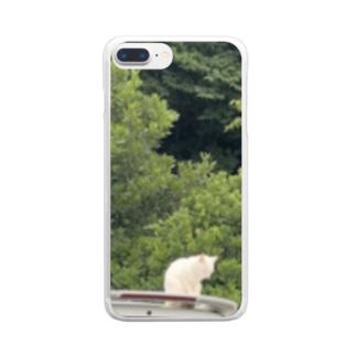みんな平和にいこうよ ネコの休日 Clear smartphone cases