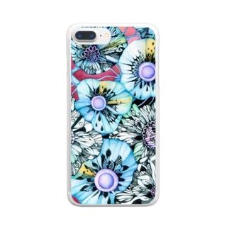 赤と青 Clear smartphone cases