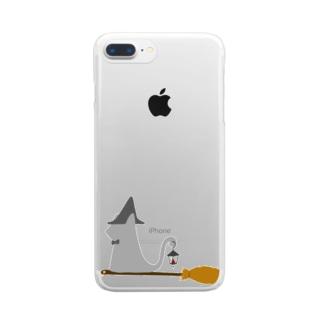 とんがり帽子猫(箒ランプ) Clear smartphone cases