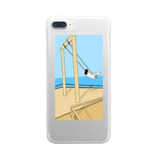 ブランコにのる女の子 Clear smartphone cases