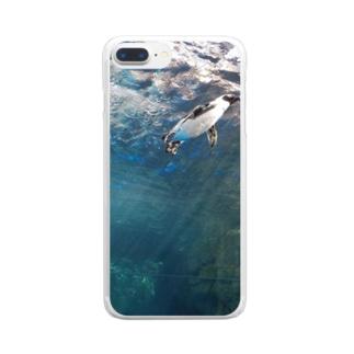 空飛ぶペンギン Clear smartphone cases