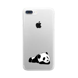 ジャパニーズスタンダードのおやすみパンダ Clear smartphone cases