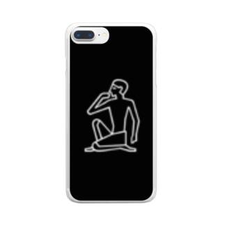 考える人 Clear smartphone cases