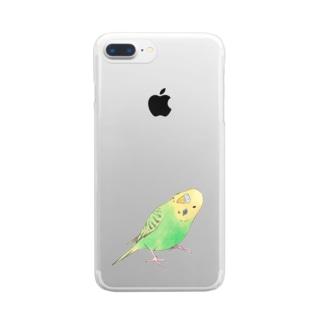 首傾げセキセイインコ ピーちゃん【まめるりはことり】 Clear smartphone cases