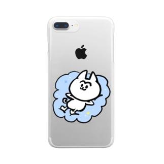 雲の上のまゆげねこ Clear smartphone cases