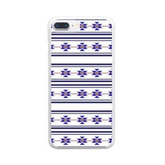 ネイティブ柄 Clear smartphone cases