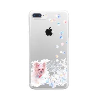 リアル風ヨーキーちゃん。ロングコートにキュートなリボン~縦長~ Clear smartphone cases