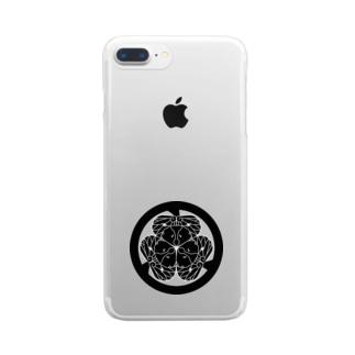 動物家紋。H.T.(三つ葉葵ハシビロコウ) Clear smartphone cases
