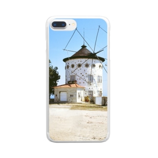 ポルトガル:モンテ・デ・サン・フェリックスの風車 Portugal: Windmills in Monte de São Félix Clear smartphone cases