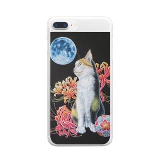 猫と曼珠沙華 Clear smartphone cases