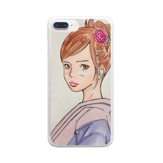 毒吐く女子 Clear smartphone cases