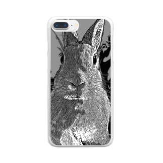 ゆるかめ[うさハム関係グッズ販売]のオシャンティーうさぎモノクロ Clear smartphone cases