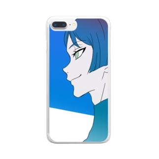 青い少年 Clear smartphone cases