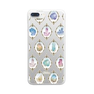 鉱物柄 白2 Clear smartphone cases