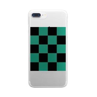 黒緑 流行 升目 Clear smartphone cases