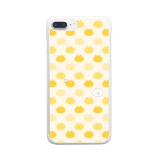 【yellow】 くまこがいっぱい Clear smartphone cases