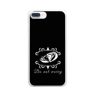 心配しないで モノクロ2 Clear smartphone cases