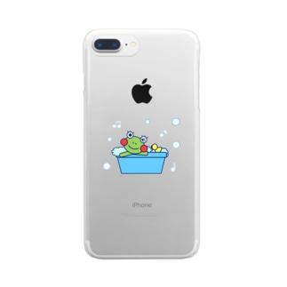 お風呂でのんびりなかえるさん Clear smartphone cases
