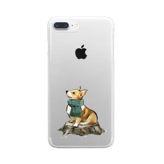 マフラー犬 コーギー Clear smartphone cases