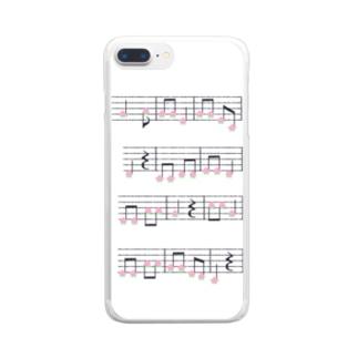 桃の楽譜 Clear smartphone cases