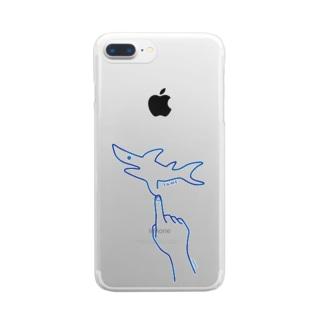 サメ SAME line 指でなぞるサメ 001 Clear smartphone cases