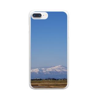鳥海山と空 Clear smartphone cases
