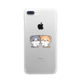 はちわれスコちゃん なかよしver. Clear smartphone cases