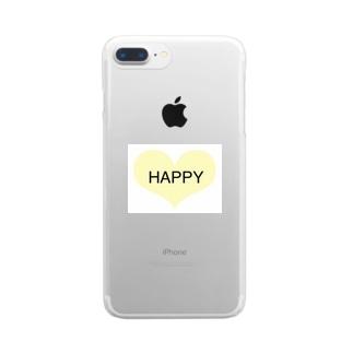 シンプル HAPPYロゴ ハート Clear smartphone cases