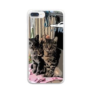 ねこ 仲良し3兄弟 Clear smartphone cases