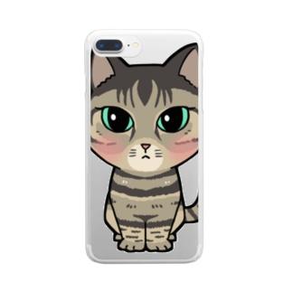 はにゃちゃん Clear smartphone cases