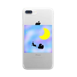 サンタとトナカイ Clear smartphone cases