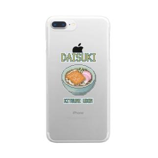 キツネウドン(ドット絵) Clear smartphone cases