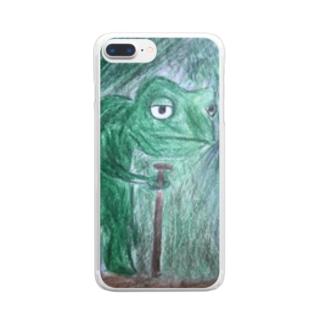 色を見つけたカメレオン  Clear smartphone cases