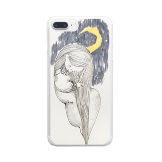 月と女の子のアイテム Clear smartphone cases