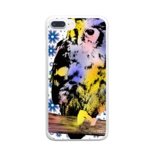 みみずくと花 Clear smartphone cases