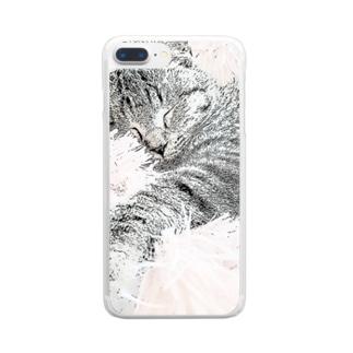 元保護猫の小鉄くん Clear smartphone cases