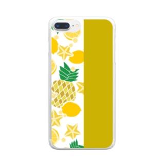 イエローのフルーツ Clear smartphone cases