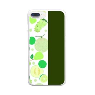 グリーンのフルーツ Clear smartphone cases