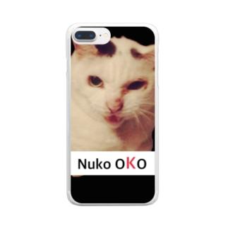 ぬこおこ NUKOOKO (文字が小さいバージョン) Clear smartphone cases