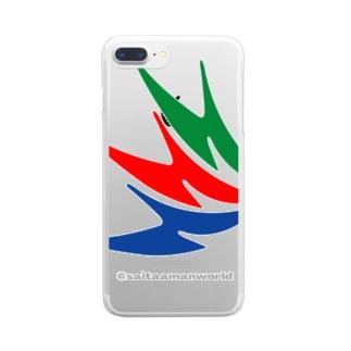 さいたぁマンマーク柄 Clear smartphone cases