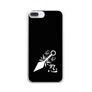 忍 モノクロ2 Clear smartphone cases