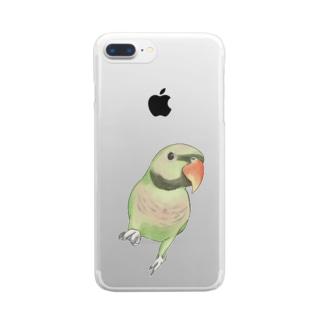 ご機嫌なダルマインコちゃん【まめるりはことり】 Clear smartphone cases
