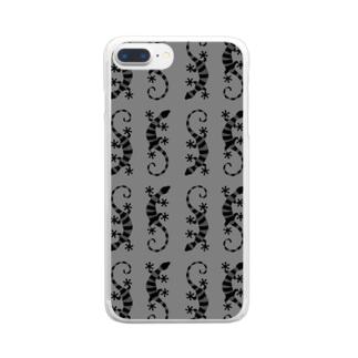 グレーのしましまのトカゲたち Clear smartphone cases